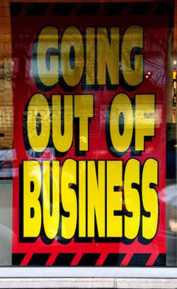 A going-out-of-business sign at a Circuit City store that declared bankruptcy in 2010