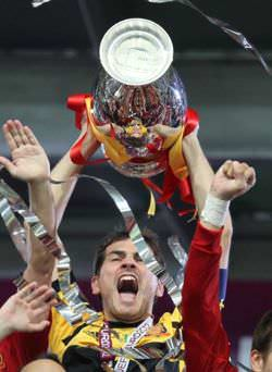 Iker Casillas, captain of Spain's football team, with the Euro Cup 2012 trophy