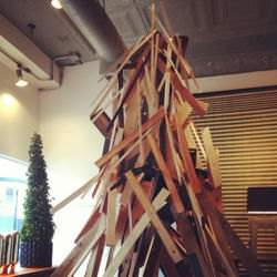 A Christmas tree made of plywood.