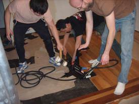 Hardwood floor installation by professionals