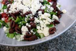 Feta cheese crumbled on salad