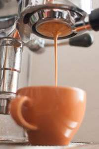 An espresso tamp with a dark reddish-brown foam, called crema