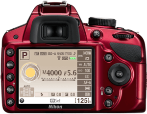 Example of one interface theme seen in the D3200's red body.