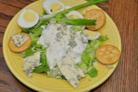 Salad topped with Gorgonzola
