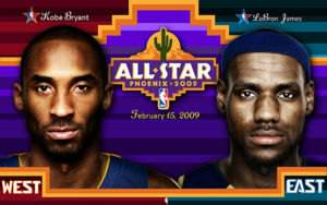 East and West players LeBron James and Kobe Bryant