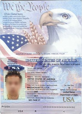 A passport book displaying the passport details page