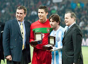 Cristiano Ronaldo (L, in Red), Lionel Messi (R, in white and blue stripes) – Portugal vs. Argentina, 9th Feb 2011