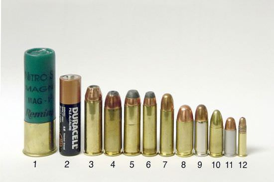 "Side-by-side comparison of many common pistol rounds. L-R: (1) 3 in 12 ga magnum shotgun shell (for comparison), (2) size ""AA"" battery (for comparison), (3) .454 Casull, (4) .45 Winchester Magnum, (5) .44 Remington Magnum, (6) .357 Magnum, (7) .38 Special, (8) .45 ACP, (9) .38 Super, (10) 9 mm Luger, (11) .32 ACP, (12) .22 LR"